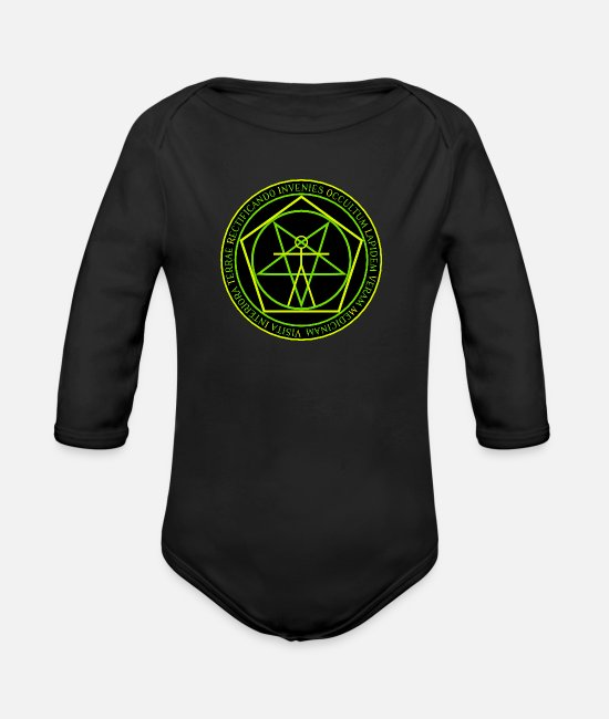 Symbol  Baby Clothes - Pentacle - Organic Long-Sleeved Baby Bodysuit black