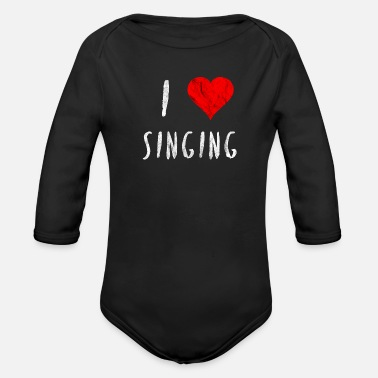 I Heart Karaoke I love singing singer dancer club party gift - Organic Long-Sleeved Baby Bodysuit