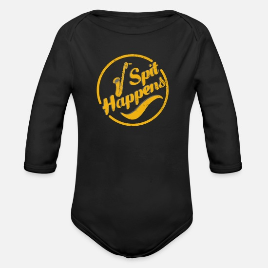 Gift Idea Baby Clothes - Funny musical instrument jazz music saxophone - Organic Long-Sleeved Baby Bodysuit black