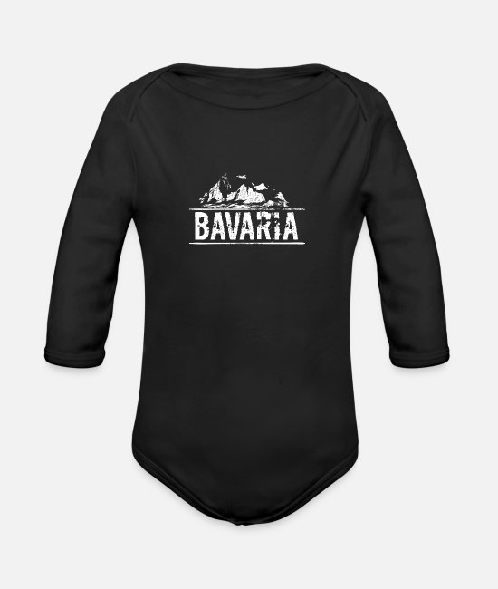 Proud Baby Bodysuits - Bavaria Bavaria mountains Heimatliebe - Organic Long-Sleeved Baby Bodysuit black
