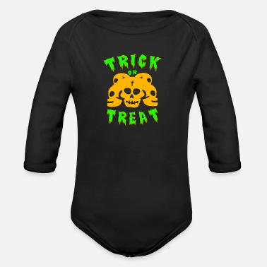 Trick Or Treat Trick or treating! Trick or treat! - Organic Long-Sleeved Baby Bodysuit