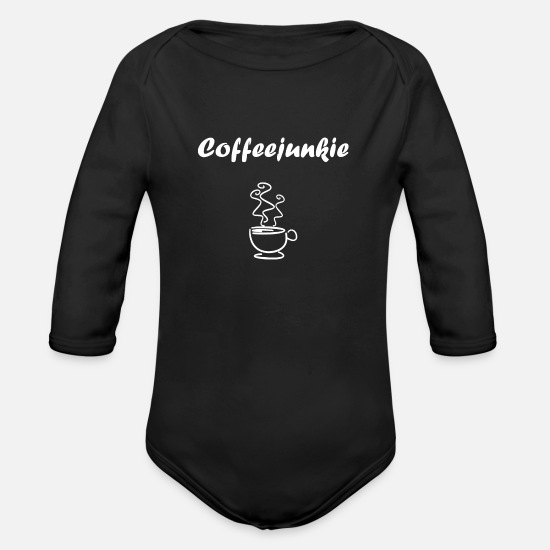 Coffee Bean Baby Clothes - Coffeejunkie, drink coffee, cappuccino, espresso - Organic Long-Sleeved Baby Bodysuit black