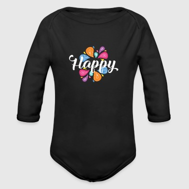 Happiness Happy Happy - Organic Longsleeve Baby Bodysuit