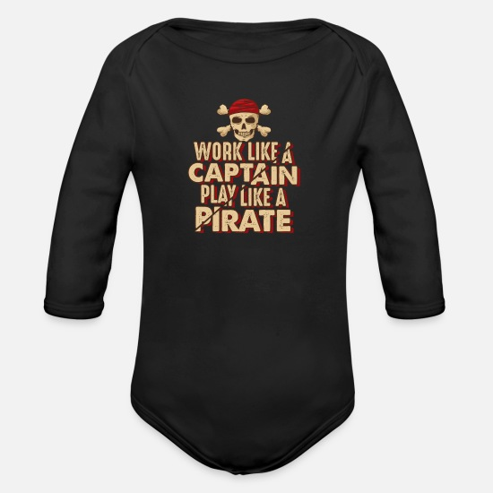 Pirate Skull Baby Clothes - Pirate, piracy, pirate flag - Organic Long-Sleeved Baby Bodysuit black