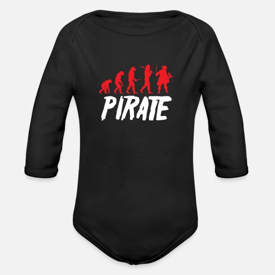 Pirate Skull Baby Clothes - Pirate Evolution - Organic Long-Sleeved Baby Bodysuit black