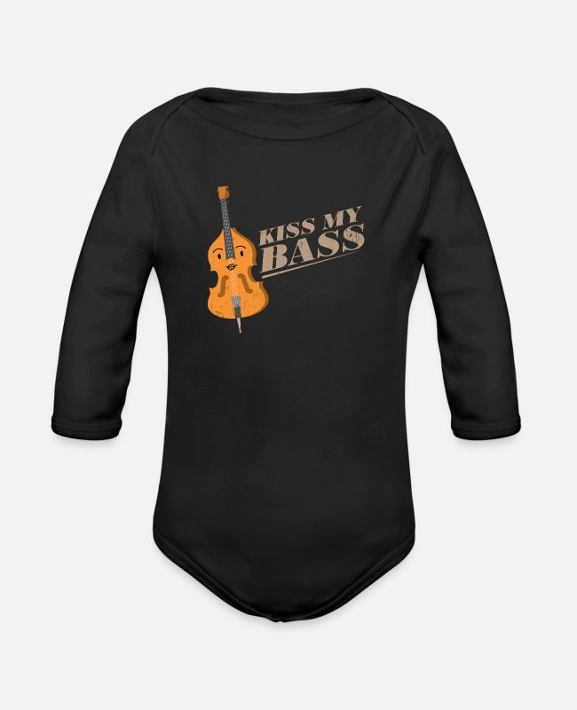 Double Bass Baby Bodysuits - Sexy bass - Organic Long-Sleeved Baby Bodysuit black