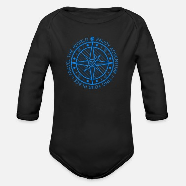 Traveling Compass (Adventure, Travel) 01 - Organic Long-Sleeved Baby Bodysuit