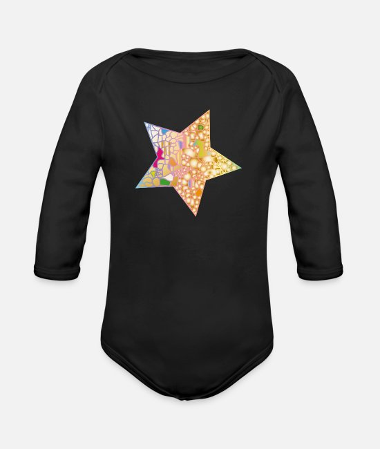 Starry Sky Baby Bodysuits - small patchwork star in the night sky - Organic Long-Sleeved Baby Bodysuit black