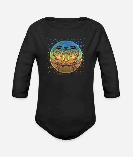 Nature Baby Bodysuits - Crab - Organic Long-Sleeved Baby Bodysuit black