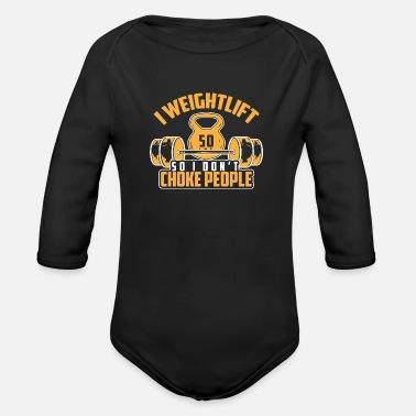 Bulk Up Bench press training - Organic Long-Sleeved Baby Bodysuit