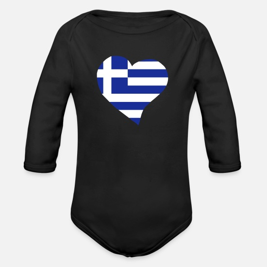 Greek Baby Clothes - Greek heart - Organic Long-Sleeved Baby Bodysuit black
