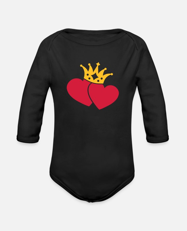 Eddart Baby Bodysuits - With Heart & Crown / UNITED - Organic Long-Sleeved Baby Bodysuit black