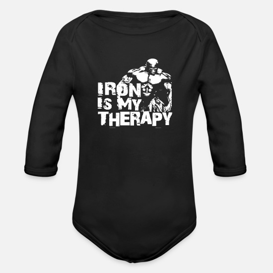 No Baby Clothes - Iron is my therapy - Organic Long-Sleeved Baby Bodysuit black