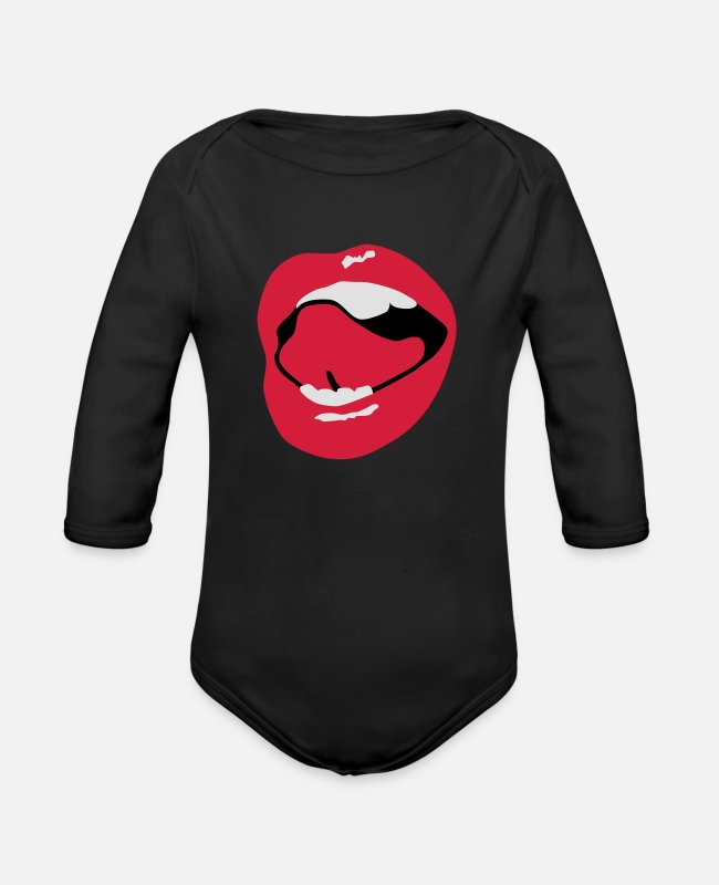 Lips Baby Bodysuits - Sexy Mouth - Organic Long-Sleeved Baby Bodysuit black
