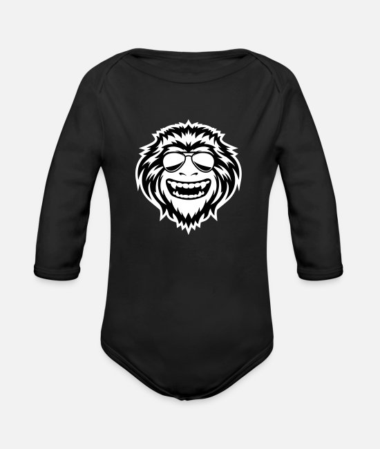 Grungy Baby Clothes - Wild Ape - Organic Long-Sleeved Baby Bodysuit black