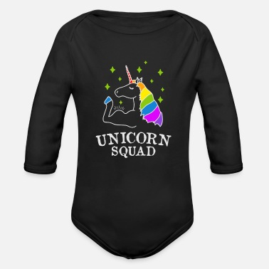 Pony Unicorn Squad - gym fitness - Organic Long-Sleeved Baby Bodysuit