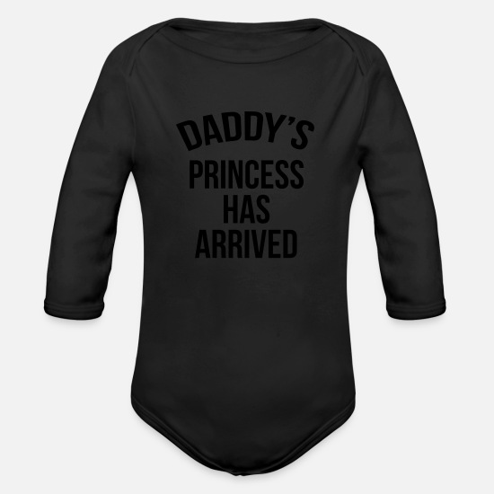 Queen Baby Clothes - Daddy's princess has arrived - Organic Long-Sleeved Baby Bodysuit black