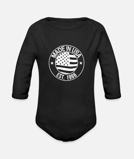 State Baby Clothes - Made in usa - Organic Long-Sleeved Baby Bodysuit black