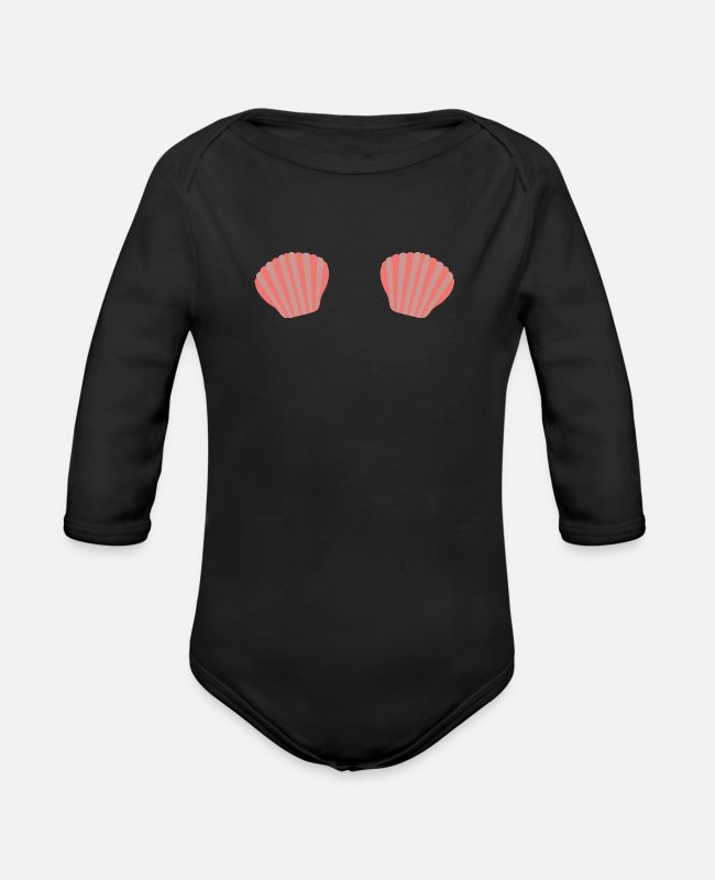 Nature Baby Bodysuits - Red Mermaid bikini - Organic Long-Sleeved Baby Bodysuit black