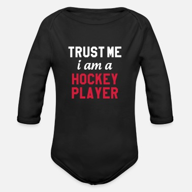 Hockey Trust me I am a Hockey Player - Ekologisk långärmad babybody