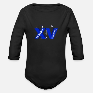 Lyon Rugby Toulousain XV TRAINING blue - Organic Long-Sleeved Baby Bodysuit