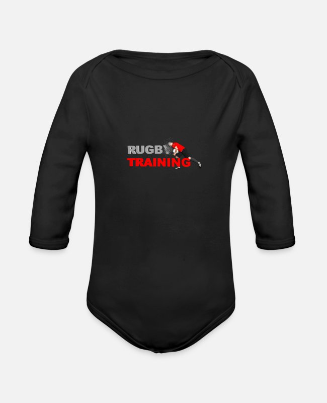Rugby Baby Bodysuits - RUGBY TRAINING red and black - Organic Long-Sleeved Baby Bodysuit black