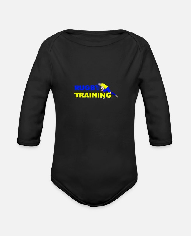 Training Baby Bodysuits - RUGBY TRAINING Blue and yellow - Organic Long-Sleeved Baby Bodysuit black
