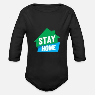 Closing Stay at home 01 - Organic Long-Sleeved Baby Bodysuit