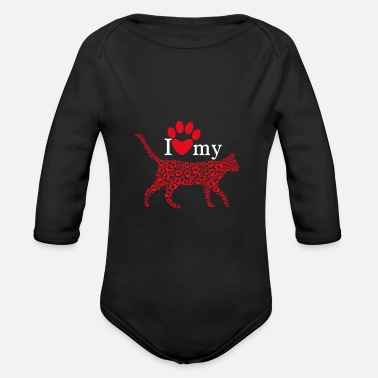 Awesome I Love My CAT - Organic Long-Sleeved Baby Bodysuit