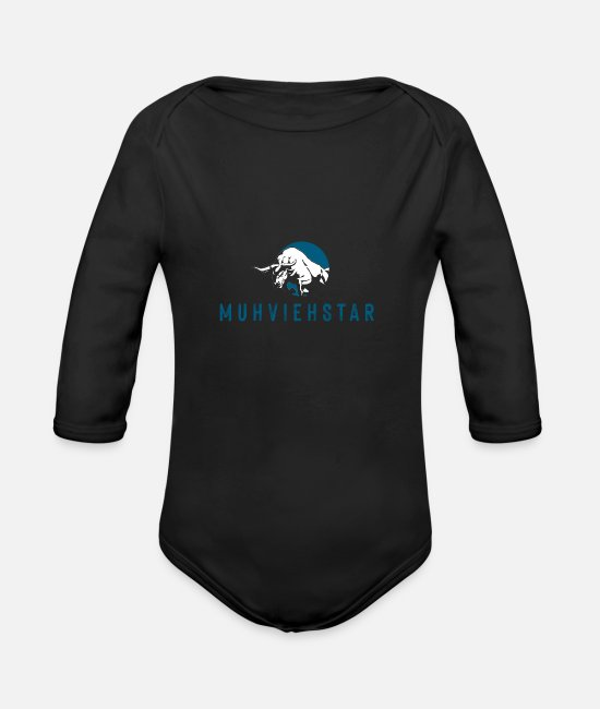 Grandpa Baby Bodysuits - Muhviehstar farmer design - Organic Long-Sleeved Baby Bodysuit black