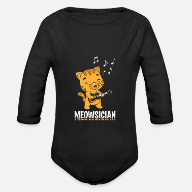 Sound Perfect Musician Design Quote Meowsician - Organic Long-Sleeved Baby Bodysuit