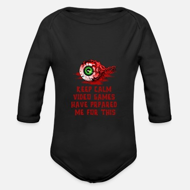 Blood Splatter Keep Calm Halloween Zombie eye - Organic Long-Sleeved Baby Bodysuit