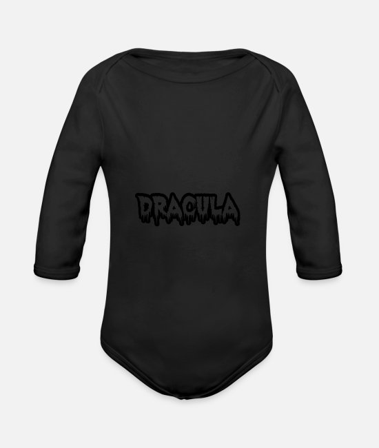 Horror Baby Clothes - dracula 01 - Organic Long-Sleeved Baby Bodysuit black