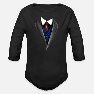 Fun Tuxedo Tie Designs blue vest - Baby Bio-Langarm-Body