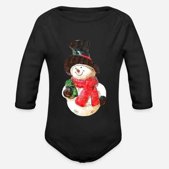 Snowman Baby Clothes - Snowman - drawing - Organic Long-Sleeved Baby Bodysuit black