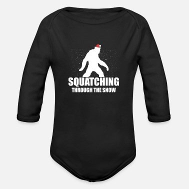 Apelike Squatching Through The Snow Bigfoot Christmas Gift - Organic Long-Sleeved Baby Bodysuit