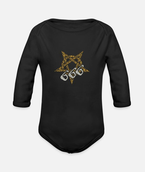 Speed Metal Baby Clothes - 666 Pentacle devil Satan - Organic Long-Sleeved Baby Bodysuit black