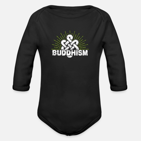 Gift Idea Baby Clothes - Buddhism - Organic Long-Sleeved Baby Bodysuit black