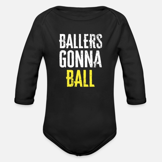 Birthday Baby Clothes - Ballers Ball Graphic - Organic Long-Sleeved Baby Bodysuit black