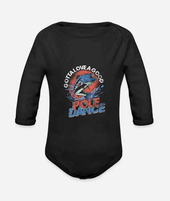 Nature Baby Bodysuits - Fish fishing - Organic Long-Sleeved Baby Bodysuit black
