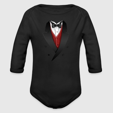 Tuxedo Tie Designs red vest - Baby Bio-Langarm-Body