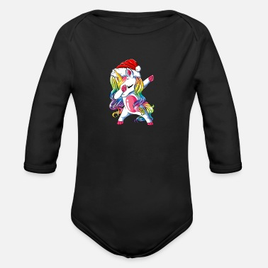 Dabbing cute unicorn girl unicorn christmas - Organic Long-Sleeved Baby Bodysuit