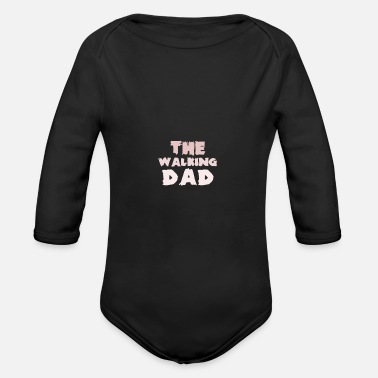 The Current Dad The running dad father - Organic Long-Sleeved Baby Bodysuit