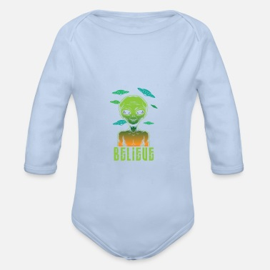 Object Ufo Alienalien sspaceship - Organic Long-Sleeved Baby Bodysuit