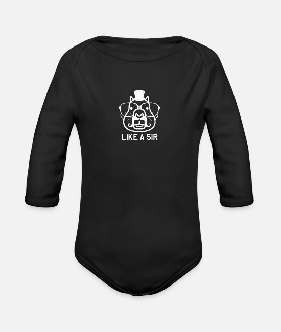 Love Baby Clothes - Like A Sir Capy - Organic Long-Sleeved Baby Bodysuit black