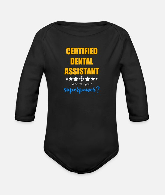 Anatomy Baby Clothes - Dentistry Dates Tooth Care Smile Toothpaste - Organic Long-Sleeved Baby Bodysuit black