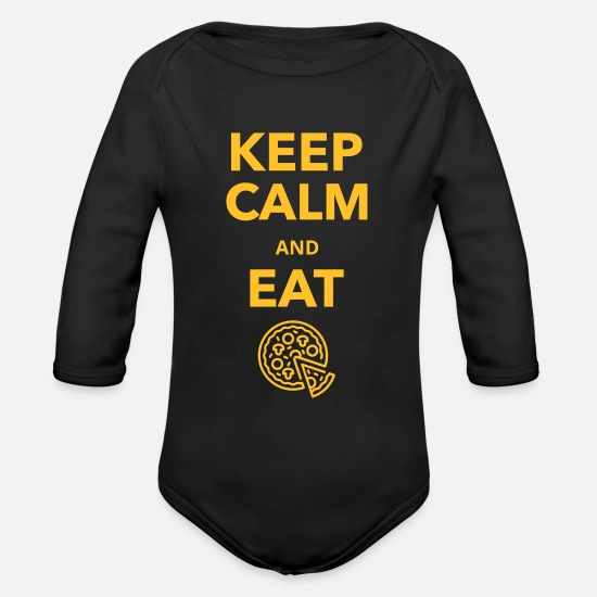 Delivery Baby Clothes - Pizza was delicious at lunch - Organic Long-Sleeved Baby Bodysuit black