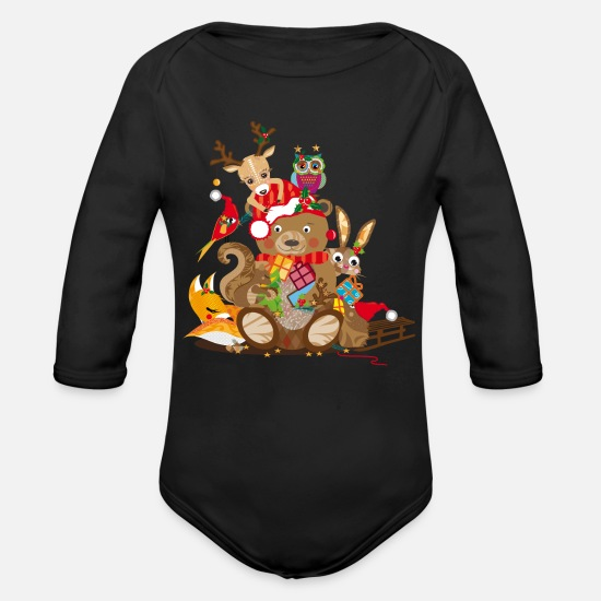 Christmas Baby Clothes - Animals celebrate Christmas - Organic Long-Sleeved Baby Bodysuit black