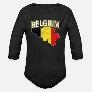 National Colours Belgium Nation Nationality - Organic Long-Sleeved Baby Bodysuit
