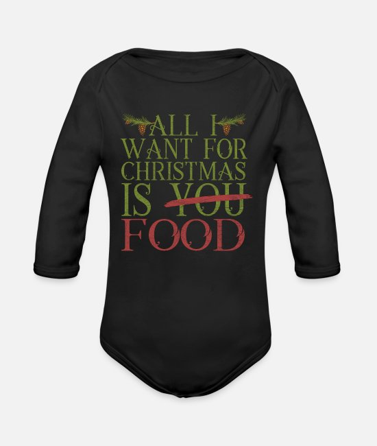 Funny Pictures Baby Bodysuits - Christmas present - Organic Long-Sleeved Baby Bodysuit black